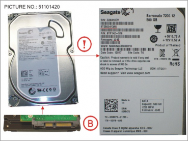 HDD 500GB SATA S3 7.2K 3.5