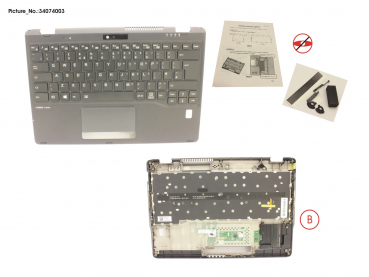 UPPER ASSY INCL. KEYB UK W/FP(ALT)
