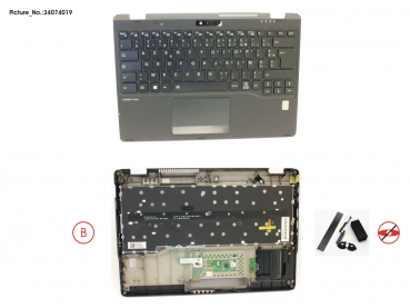 UPPER ASSY INCL. KEYB FRANCE W/FP(TBT)