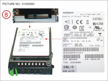 SSD SAS 6G 200GB SLC HOT P 2.5  EP PERF