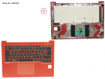 UPPER ASSY RED INCL. KEYBOARD NORDIC
