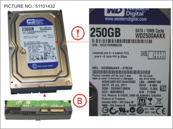 HDD 250GB SATA S3 7.2K 3.5