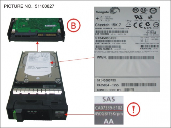 DX S2 HDD SAS 450GB 15K 3.5 15K7