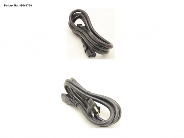 CABLE POWERCORD USA 15A, 1,8M, BLACK